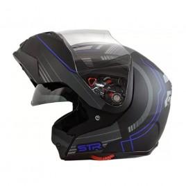 Σπαστό κράνος μηχανής STR Flipper Matt Black/ Blue